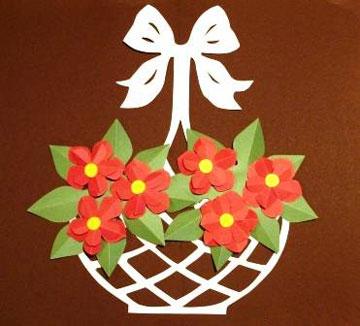 аппликация цветы в корзинке фото
